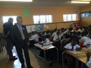 Mr Lucien Kalfon observing the M.C. Weiler students at work