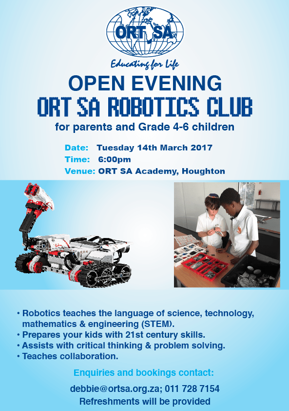 Ort Sa Robotics Club For Grades 4 6 Ort South Africa