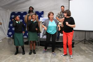 Dr Lydia Abel, ORT Cape Director with Lynda Giles dancing together with the Grade 7 Ikagi students
