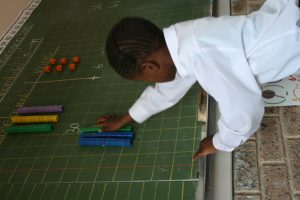 Grade 2 Ekukhanyisweni pupil demonstating his understanding of the equation