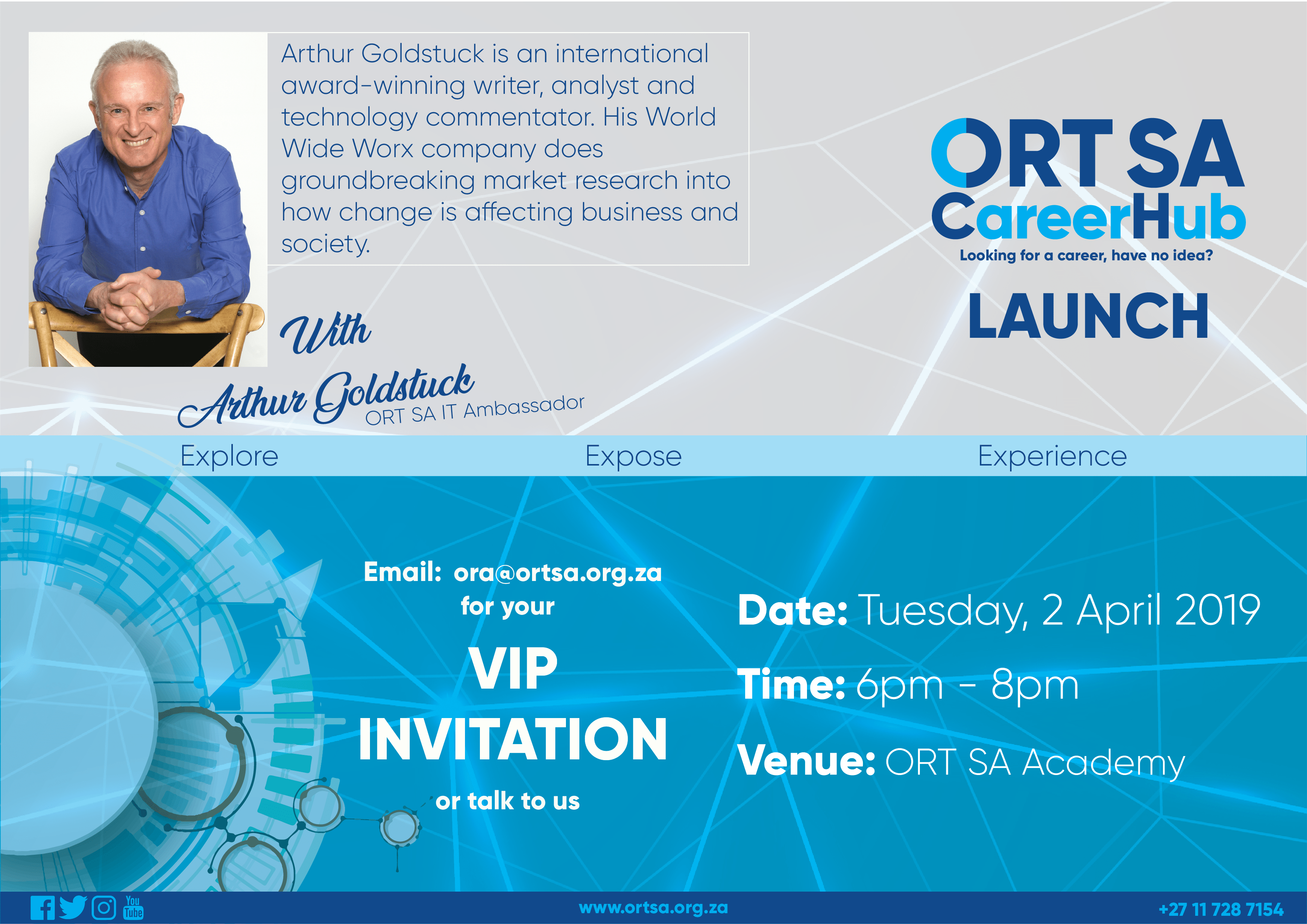 LOOKING FOR A CAREER & HAVE NO IDEA? ORT SA CareerHub LAUNCH